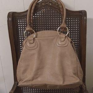 Bulga Taupe Leather 3-Zipper Compartment Bag